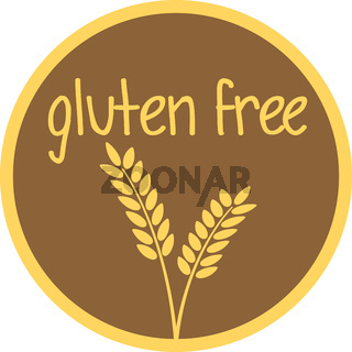 round gluten free label or sticker