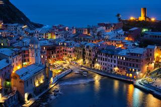 Vernazza village illuminated in the night, Cinque Terre, Liguria, Italy