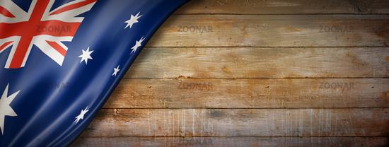 Australian flag on vintage wood wall banner