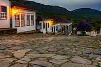 Streets of the old and historic city of Tiradentes at dusk