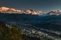 Machapuchare at early morning. A mountain in the Annapurna Himalayas of north central Nepal.
