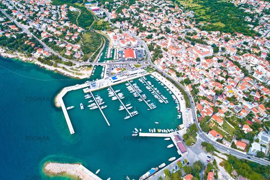 Town of Novi Vinodolski aerial panoramic view, Adriatic sea