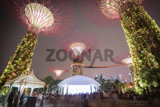 Motion blurred of crowded people attending full moon festival at Garden by the bay