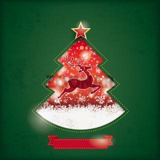 Christmas Tree Hole Snowfall Rentier Green PiAd