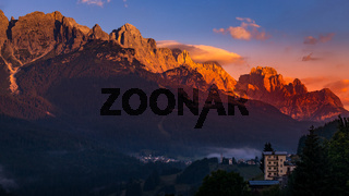 CANDIDE, VENETO/ITALY - AUGUST 10 : Sunrise in the Dolomites at Candide, Veneto, Italy on August 10, 2020