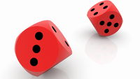 Two rolling red dices on white