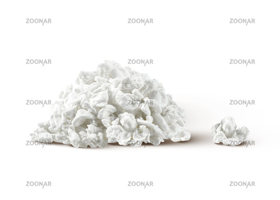 Homemade organic milk product - fresh cottage cheese on a white background.