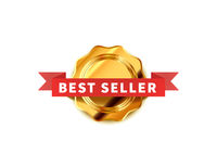 Bright badge with red tape, glossy best seller icon on white