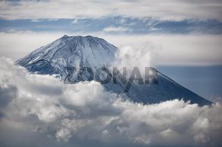 Mount Fuji summit in the clouds. Hakone area of Kanagawa Prefecture in Honshu. Japan