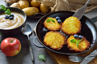 Potato pancakes with apple sauce