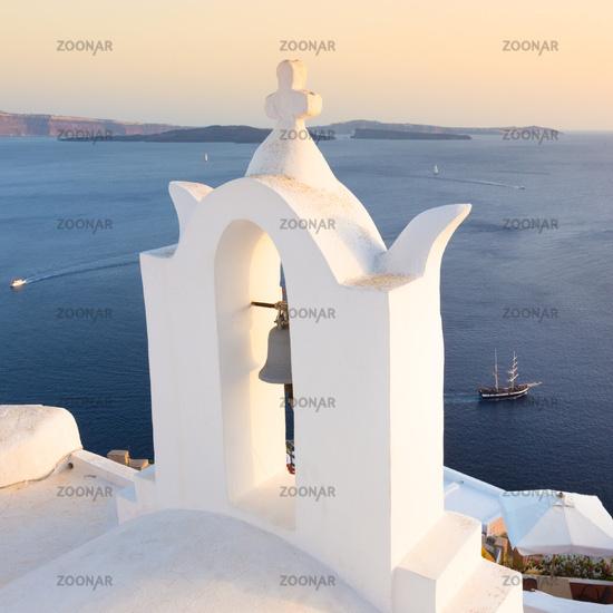 Bell tower in Oia, Santorini island, Greece.