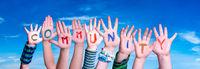 Children Hands Building Word Community, Blue Sky