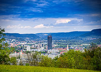 City center of Jena in Thuringia from the forest