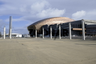 The Millennium Center and Water Tower, Cardiff, Wales