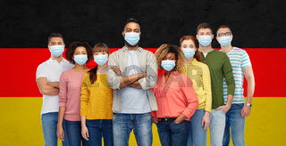 people in medical masks for protection from virus