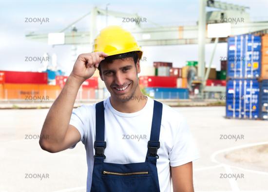 Friendly worker on a seaport