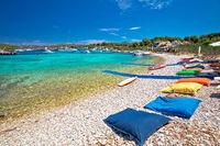 Amazing turquoise beach and summer leisure destination, Pakleni Otoci archipelago