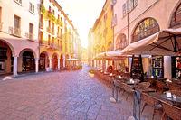 Mantova city street sun haze view, UNESCO world heritage site