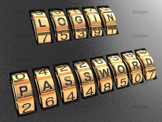 Internet security concept, Login and password.