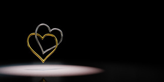 Couple of Chained Heart Shaped Rings 3D Illustration