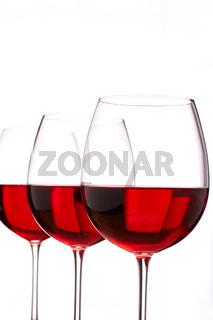 Rot Wein Gläser als Freisteller
