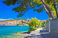 Zadar archipelago. Kali on Ugljan island turquoise sea and walkway view