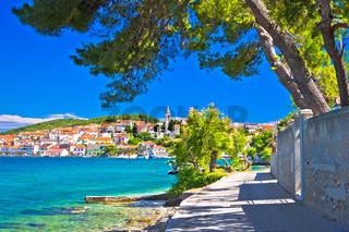 Zadar archipelago. Kali on Ugljan island turquoise sea and walkway view