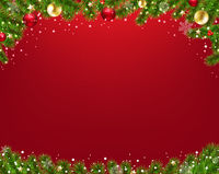 Xmas Border With Fir Tree Red Background
