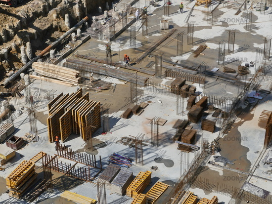 Construction site view from above