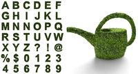 green alphabet with a structure of leaves