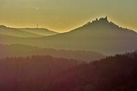 sunset behind the castle Hohenzollern, swabian alb