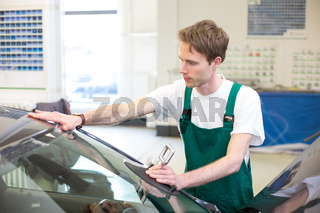 Worker in glazier's workshop installs windshield