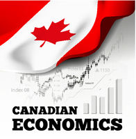 Canadian economics. Vector illustration with Canada flag on background.
