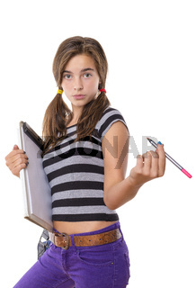 teenage girl with clipboard and pencil looking cool into camera, isolated on white