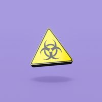 Pandemic Symbol Triangle on Purple Background