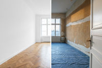 empty room before and after renovation - home refurbishment -