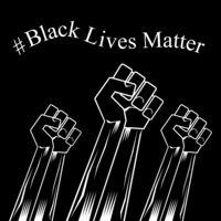 Fist Raised Up. Black Lives Matter Banner for Protest on Dark Background. Human Hand. Stop Violence to Black People