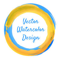 Blue and yellow watercolor ring frame for banner. Vector illustration.