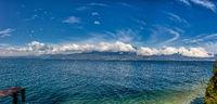 Lago di Garda panoramic view in north of Italy.