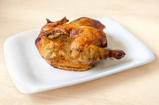 whole roasted chicken isolated on white background
