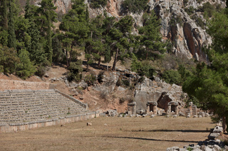Ancient Stadium in Delphi, Greece. Delphi is ancient sanctuary that grew rich as seat of oracle that was consulted on important decisions throughout ancient classical world. UNESCO World heritage