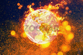 Burning planet earth fire inferno. Global warming and environmental disaster concept.
