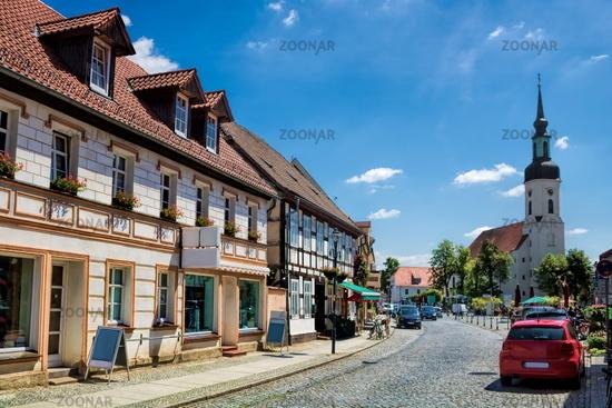lübbenau, germany - 23.05.2019 - old town with nikolai church