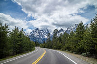 A long way down the road going to Grand Tetons NP, Wyoming