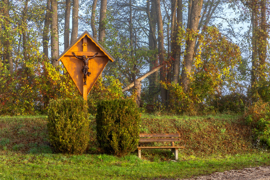 Resting place at Paar river near Schrobenhausen, Bavaria, Germany in autumn