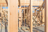 Wood Home Framing Abstract At Construction Site