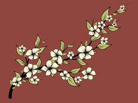 Magnolia branch with leaves, great design for any purposes. Floral design. Vector isolated illustration. Vector clipart illustration.