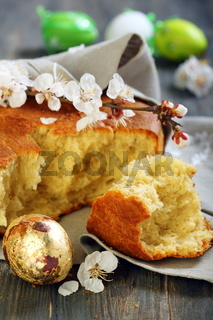 Golden egg and Italian Easter bread.