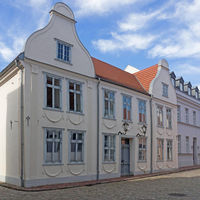 Historic buildings in the old town of Güstrow, Mecklenburg-Western Pomerania, Germany