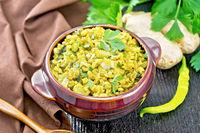 Kitchari in bowl on board
